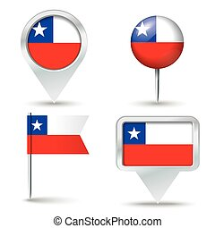 Map pins with flag of Chile - vector illustration