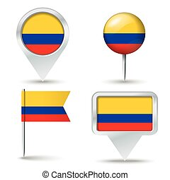 Map pins with flag of Colombia - vector illustration
