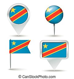 Map pins with flag of Congo (DRC)