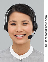 Portrait of an asian businesswoman with headset on