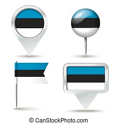 Map pins with flag of Estonia