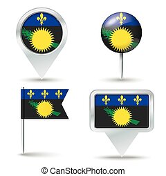Map pins with flag of Guadeloupe - vector illustration