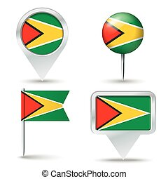 Map pins with flag of Guyana