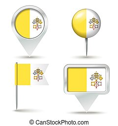 Map pins with flag of Holy See Vatican City - vector...