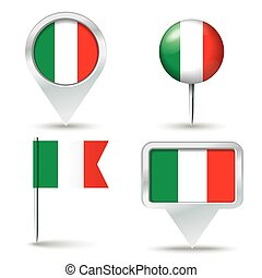 Map pins with flag of Italy - vector illustration