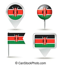 Map pins with flag of Kenya