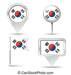 Map pins with flag of South Korea