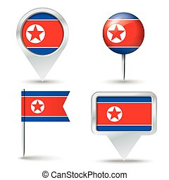 Map pins with flag of North Korea