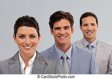 Confident Business team in a line