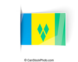 Square label with flag of saint vincent and the grenadines...