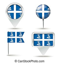 Map pins with flag of Martinique - vector illustration