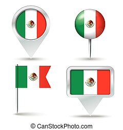 Map pins with flag of Mexico - vector illustration