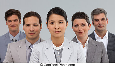 Diverse Business partners standing in a line