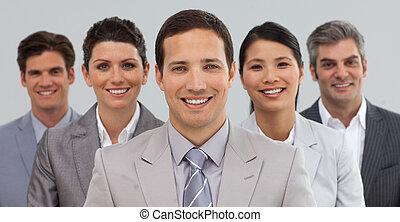 Feliz, negócio, Grupo, mostrando, Diversidade