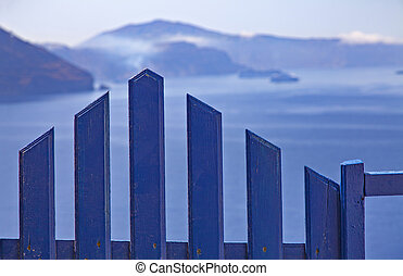 Greece blue gate - Image of a blue wooden gate, commonly...