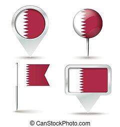 Map pins with flag of Qatar