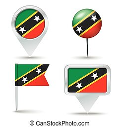 Map pins with flag of Saint Kitts
