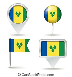 Map pins with flag of Saint Vincent and the Grenadines -...