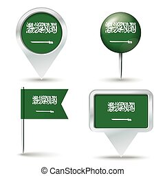 Map pins with flag of Saudi Arabia