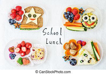 escuela, almuerzo, Cajas, para, niños, con, alimento, en,...