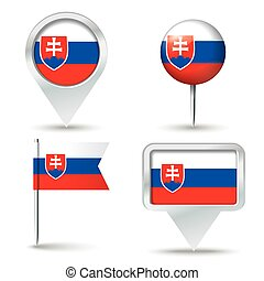 Map pins with flag of Slovakia