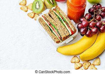 escola, sanduíche, almoço, suco, frutas, fresco, bolachas