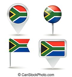 Map pins with flag of South Africa