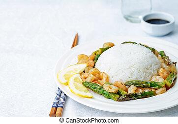 asparagus shrimp stir fry with rice