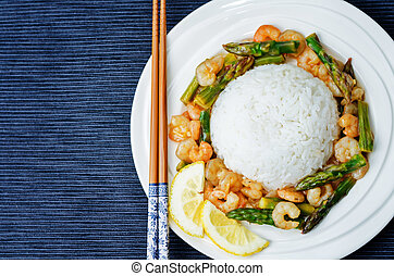 asparagus shrimp stir fry with rice