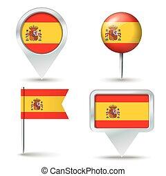 mapa, Alfinetes, com, bandeira, de, Espanha,