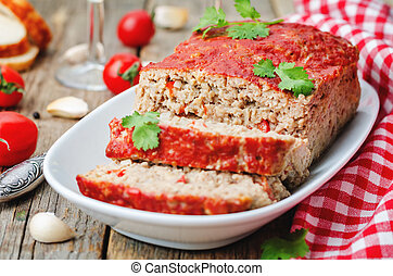 meatloaf with onion, pepper and garlic the toning selective...