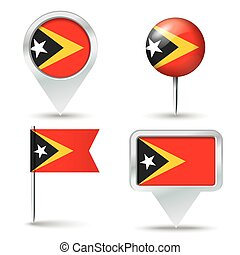 Map pins with flag of Timor-Leste - vector illustration