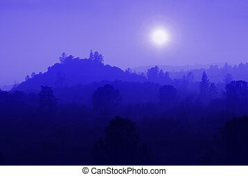 Blue Mountain Mist - Foothill ranges in muted blue mist...