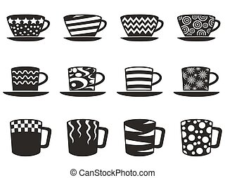 coffee cup with patterns icons set