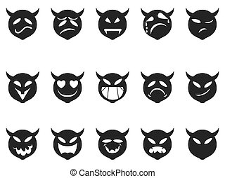 Devilish expressions smiley icons - isolated Devilish...