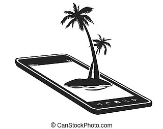 mobile phone with palm tree island