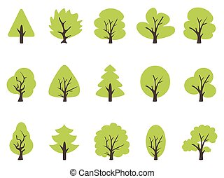 simple green tree icons set