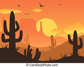 sunset cactus desert - the cactus desert on sunset...