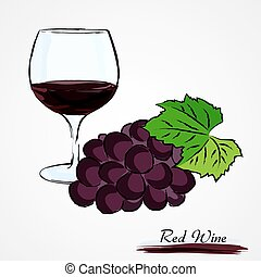 Red wine - Hand drawn vector glass of red wine and grapes...
