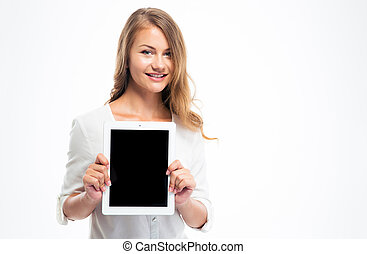 Student showing blank tablet computer screen - Smiling...