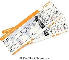 Two airline boarding pass tickets with QR2 code