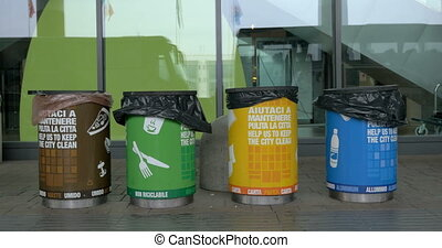 Multicolored Containers for Separate Waste Collection - Four...