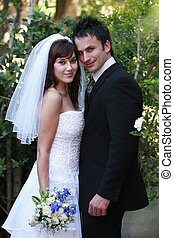 Gorgeous Wedding Couple - Beautiful happy smiling couple on...