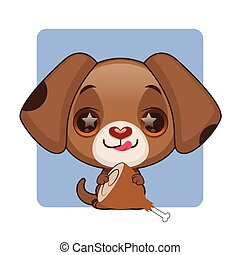 Cute brown puppy eager to eat