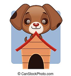 Cute puppy sitting on his doghouse