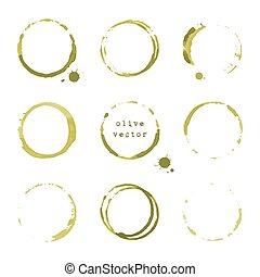 Olive round stains and blots - Collection of olive round...