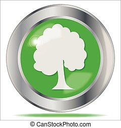 Oak Tree Button - A large tree button over a white...