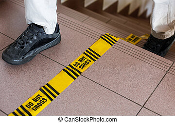 Do not cross sign, forensic line, investigation in progress....