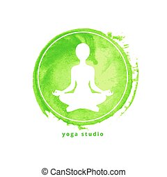 Yoga studio icon on green watercolor round background