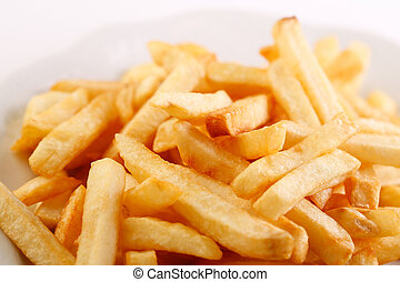 Plate of french fries - Close-up of a plate of french fries...